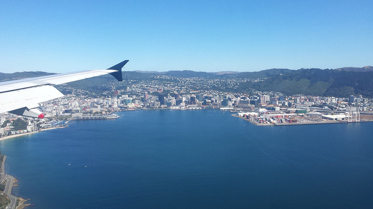 Arrivée en avion à Wellington
