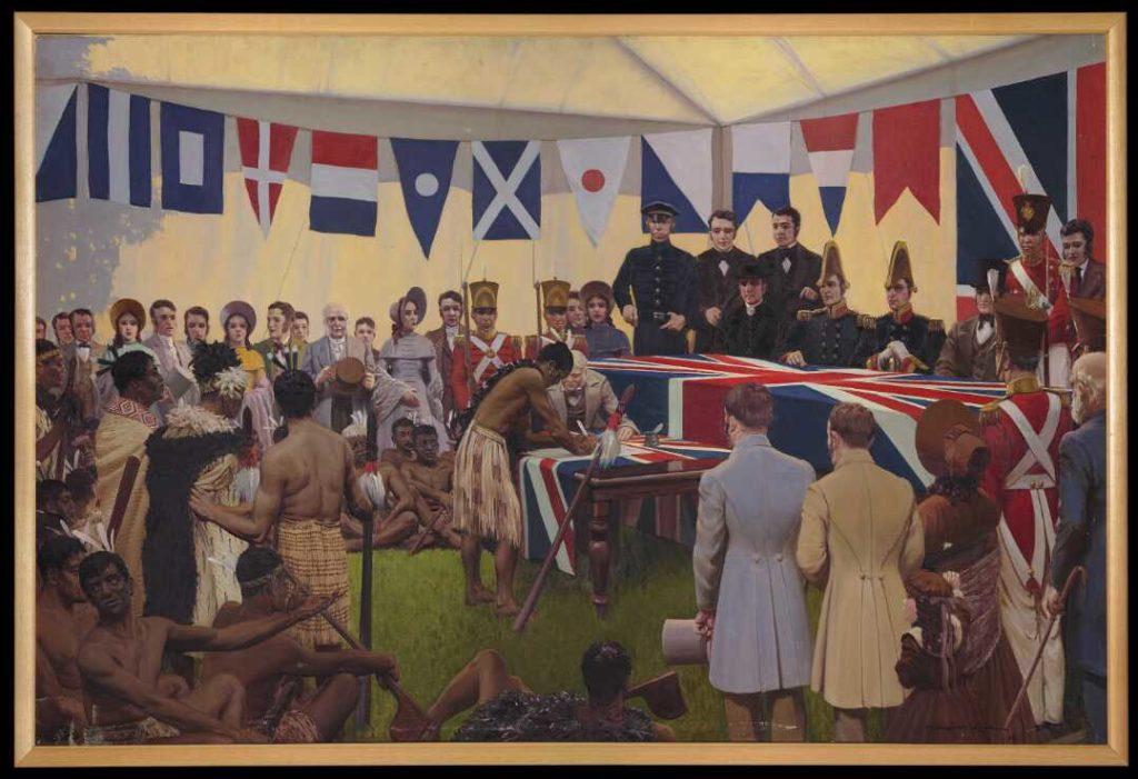 Signature du Traité de Waitangi par un chef Maori.